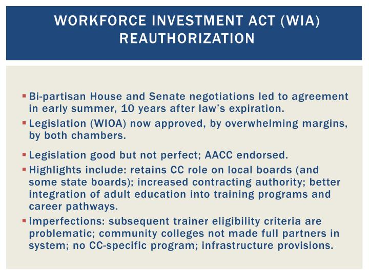 Workforce Investment Act (WIA)