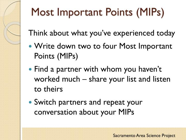 Most Important Points (MIPs)