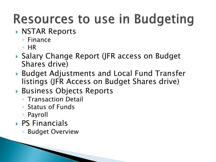 Resources to use in Budgeting