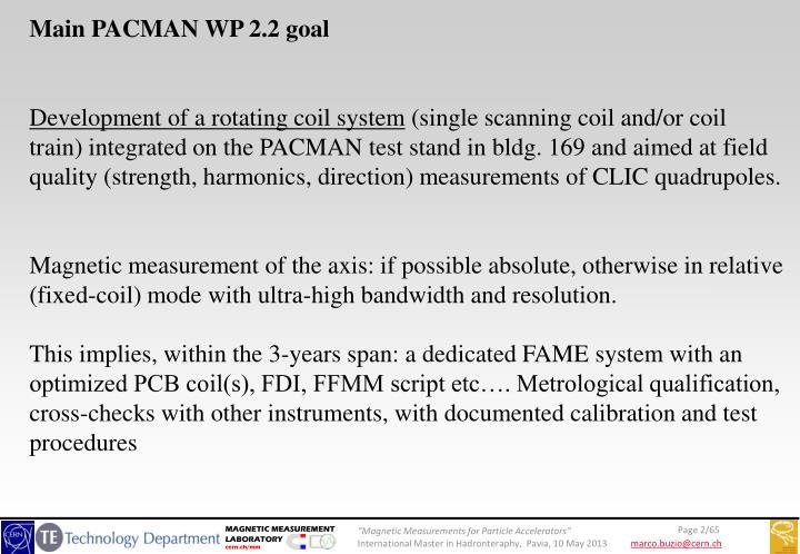 Main PACMAN WP 2.2 goal