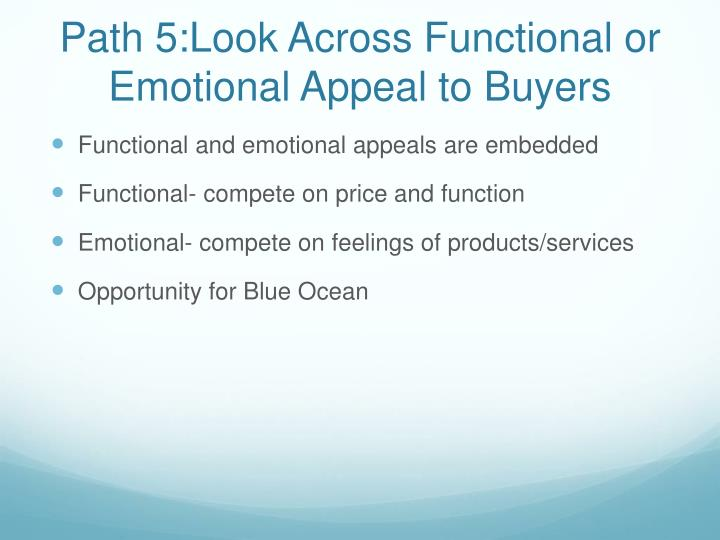 Path 5:Look Across Functional or Emotional Appeal to Buyers