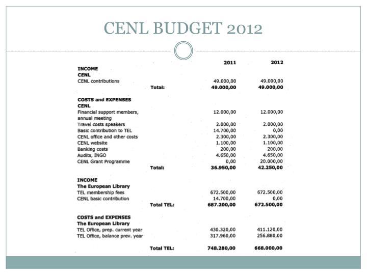 CENL BUDGET 2012