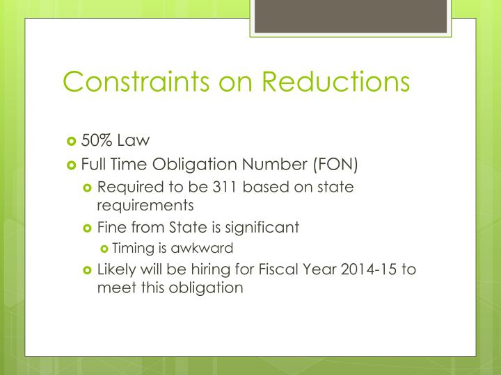 Constraints on Reductions