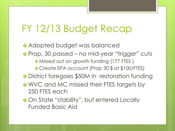 FY 12/13 Budget