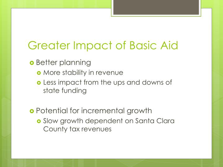 Greater Impact of Basic Aid