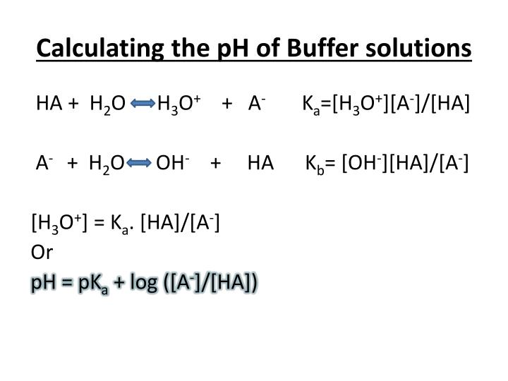 Calculating the pH of Buffer solutions