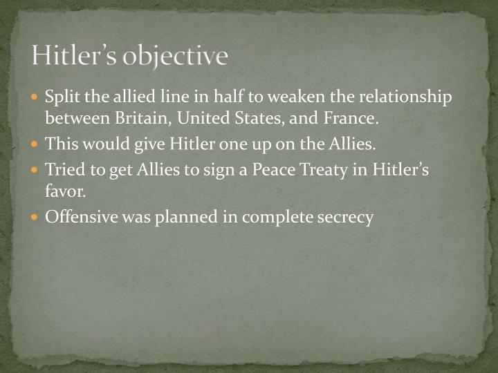 Hitler's objective