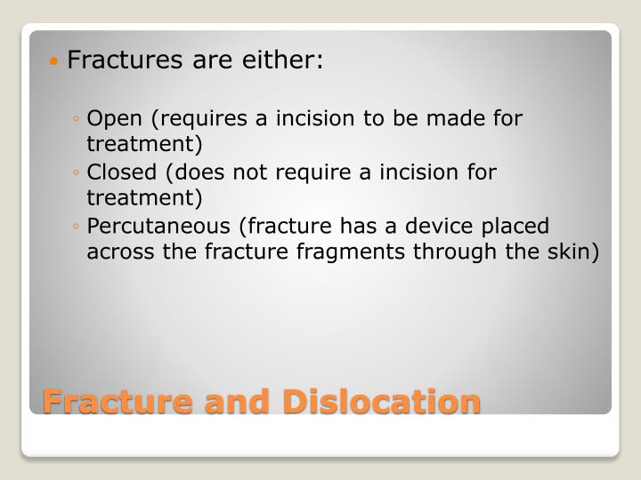 Fractures are either: