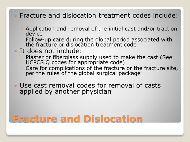 Fracture and dislocation treatment codes include