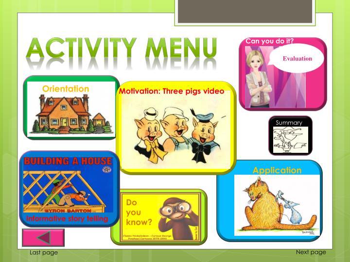 Activity Menu