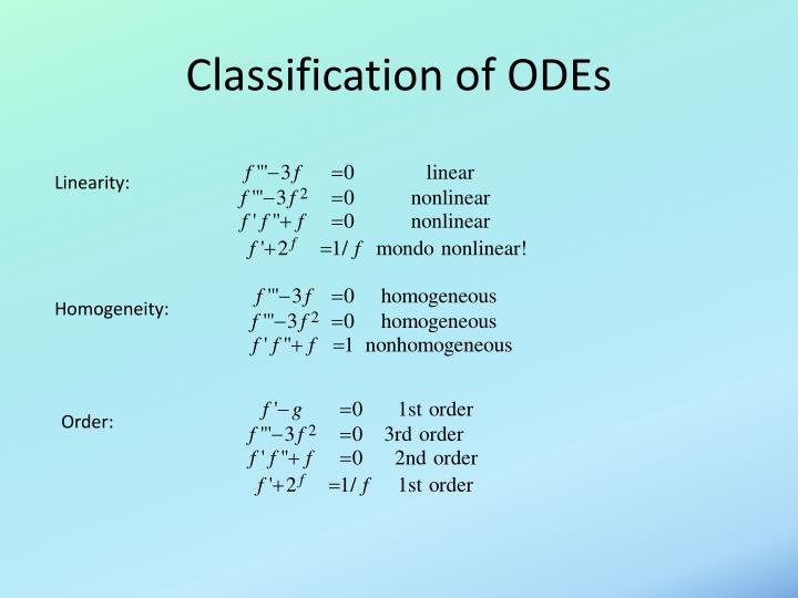 Classification of odes