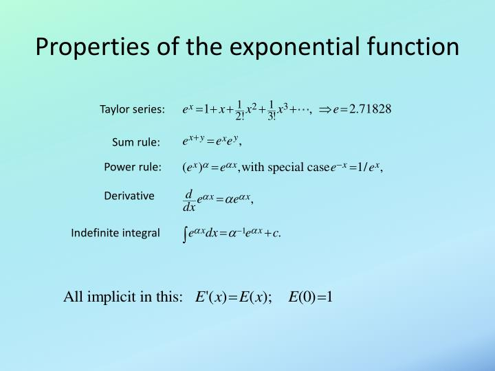 Properties of the exponential function