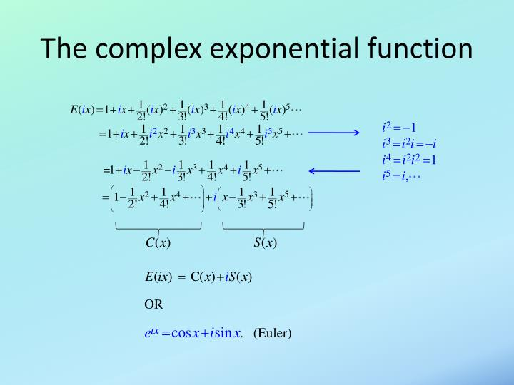 The complex exponential function
