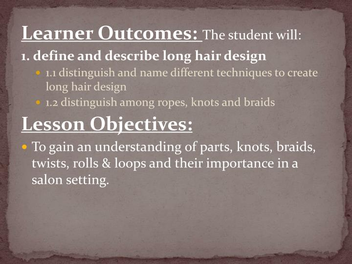 Learner Outcomes: