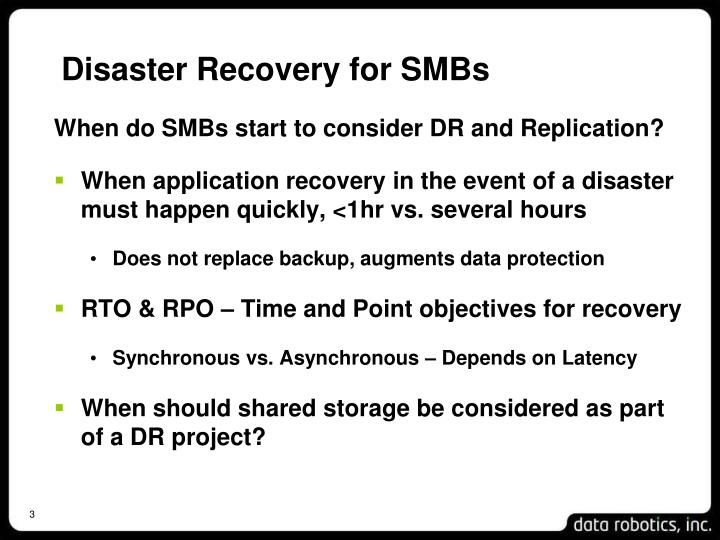 Disaster recovery for smbs