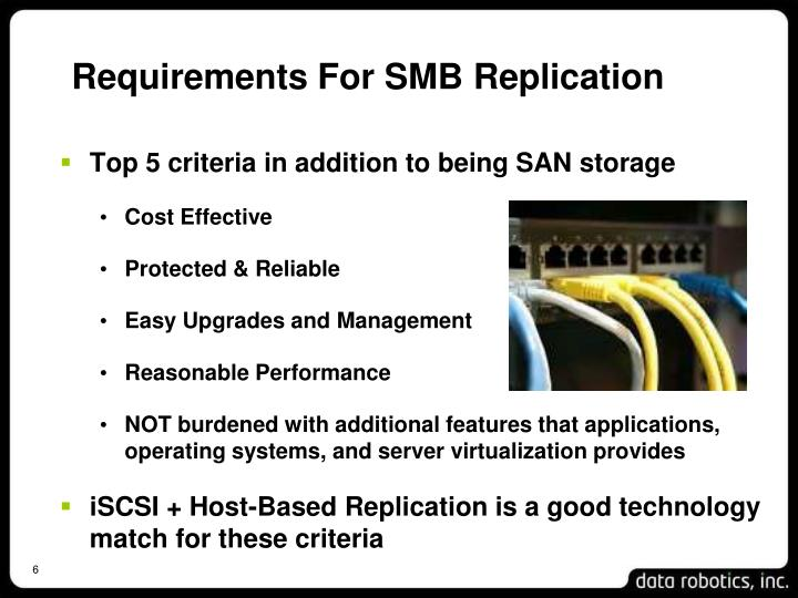 Requirements For SMB Replication