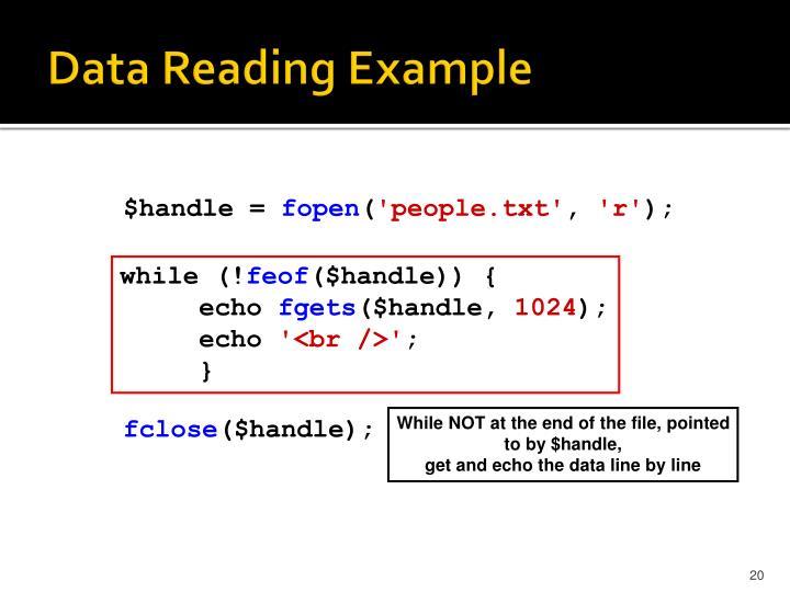 Data Reading Example