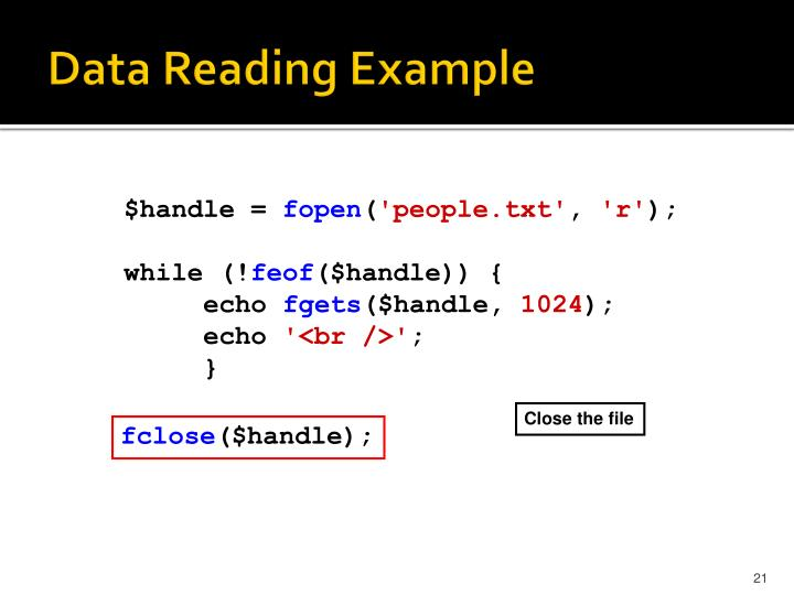 Data Reading Example
