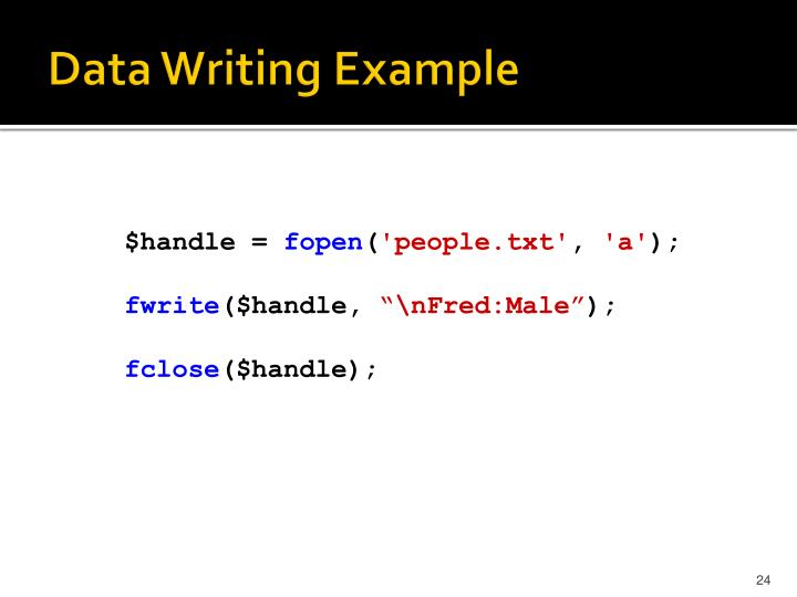 Data Writing Example