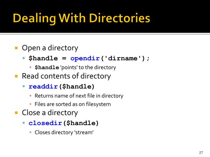 Dealing With Directories
