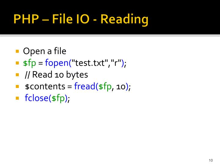 PHP – File IO - Reading