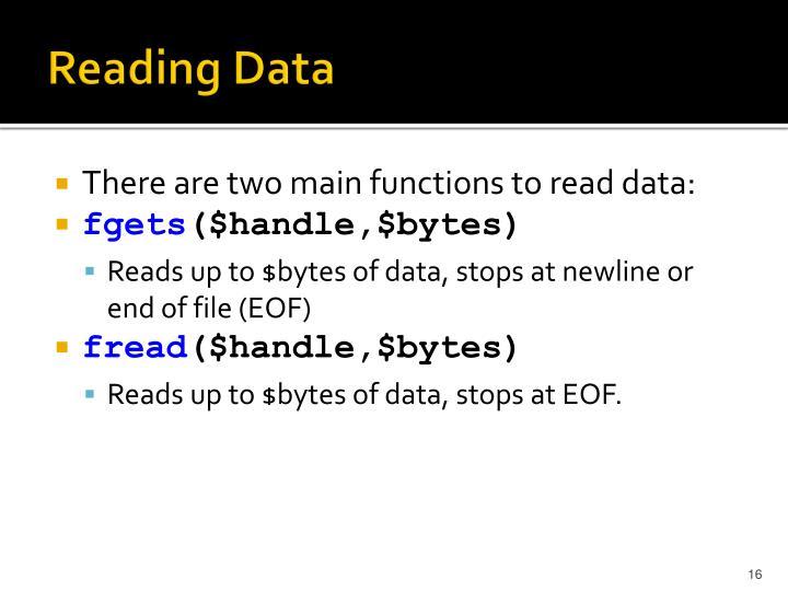 Reading Data