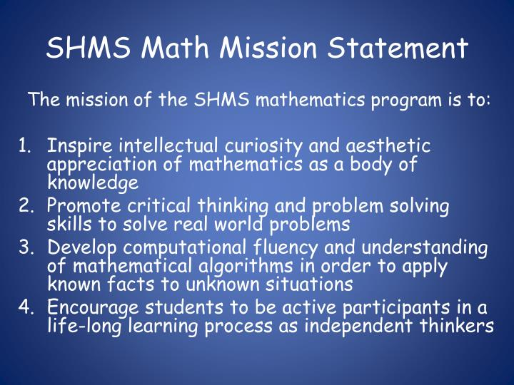 SHMS Math Mission Statement