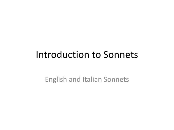 development of sonnets