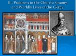 iii problems in the church simony and worldly lives of the clergy
