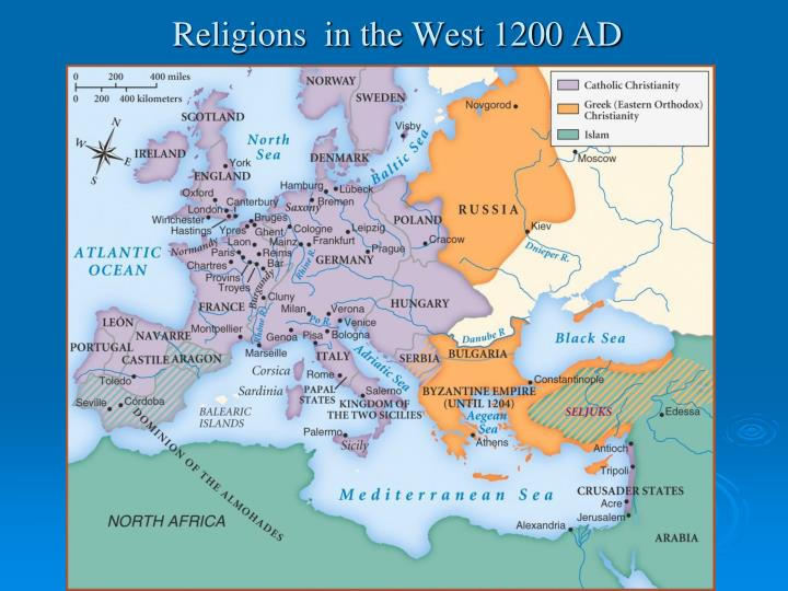 Religions  in the West 1200 AD