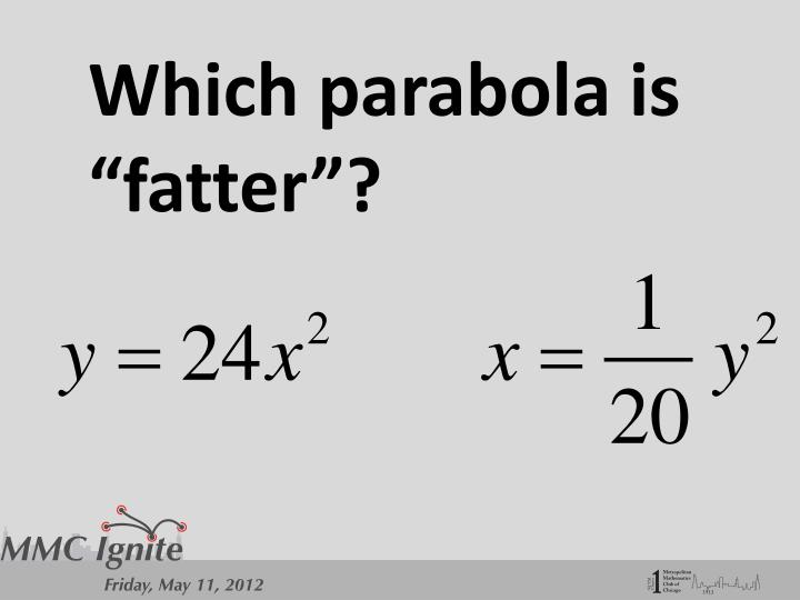 "Which parabola is ""fatter""?"