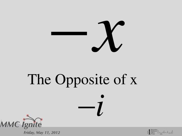 The Opposite of x