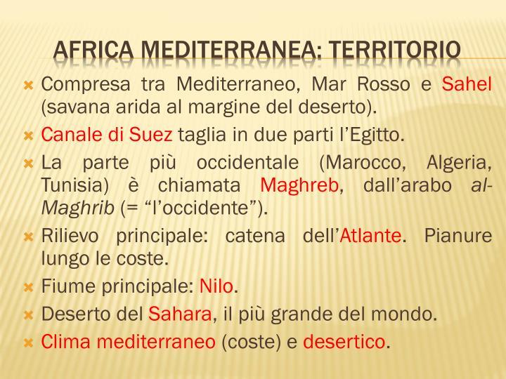 Compresa tra Mediterraneo, Mar Rosso e