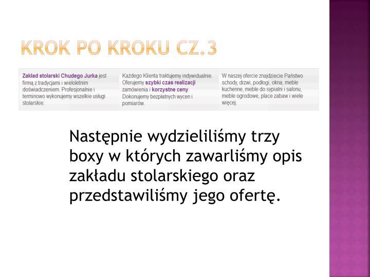 Krok po kroku cz.3