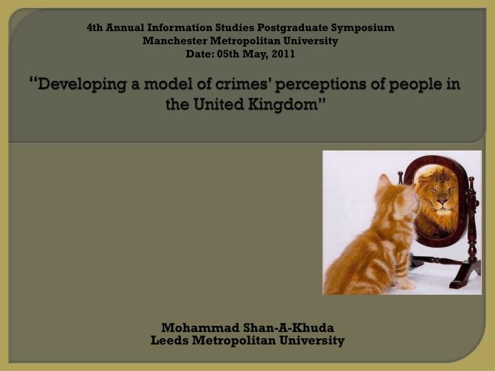 Developing a model of crimes perceptions of people in the united kingdom