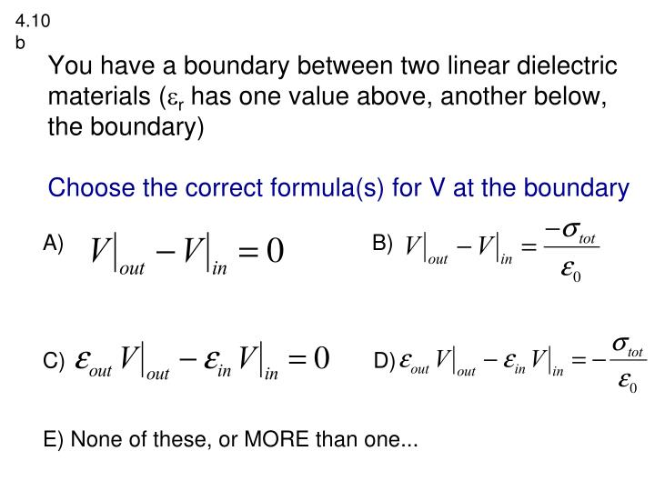 You have a boundary between two linear dielectric materials (