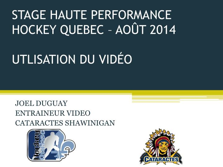 Stage haute performance hockey quebec ao t 2014 utlisation du vid o