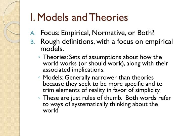 I. Models and Theories