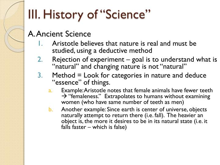 "III. History of ""Science"""