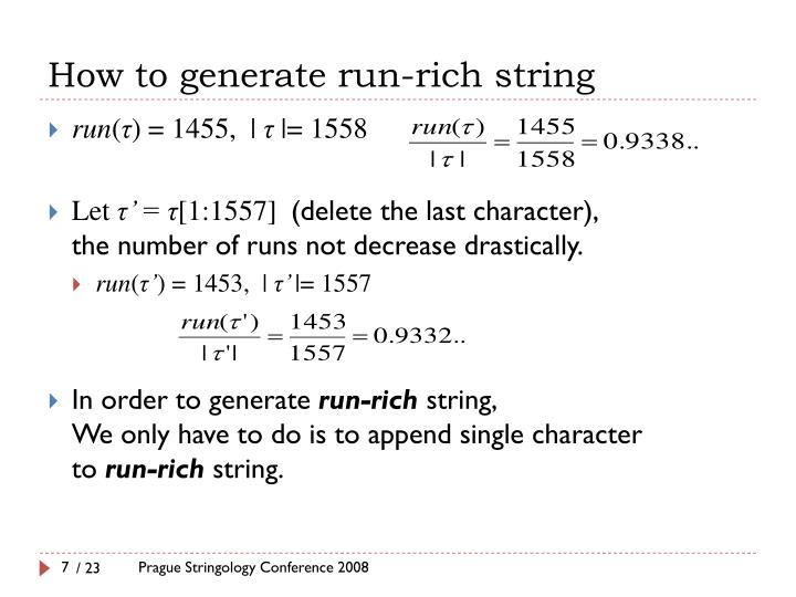 How to generate run-rich string