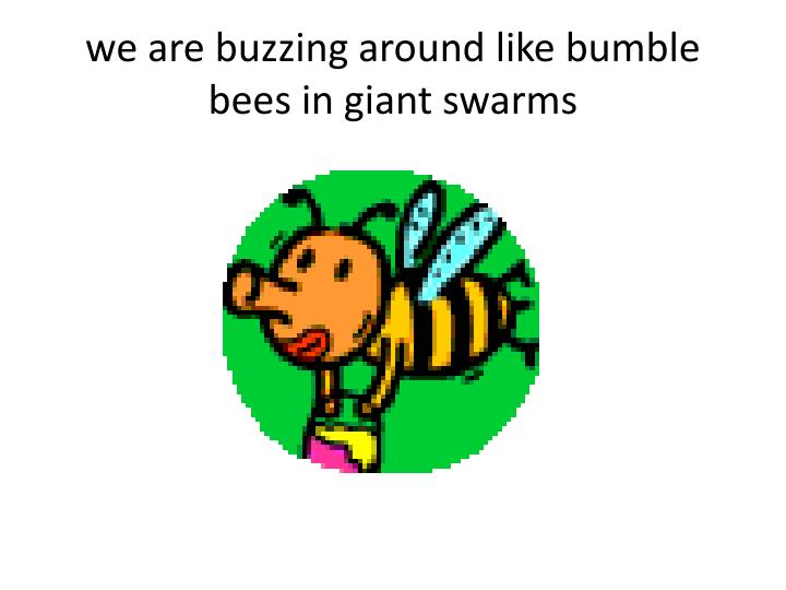 We are buzzing around like bumble bees in giant swarms