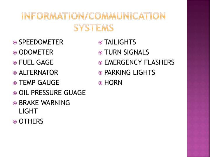 Information/communication systems