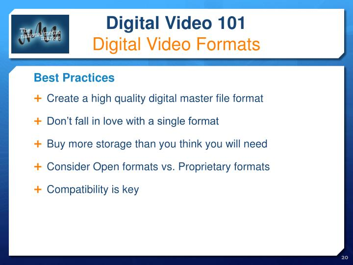 Create a high quality digital master file format