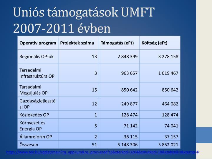 Uniós támogatások UMFT 2007-2011 évben