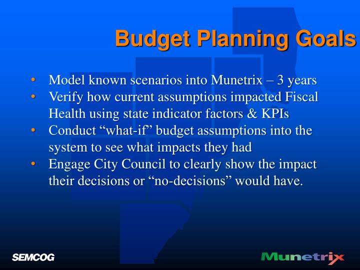 Budget Planning Goals