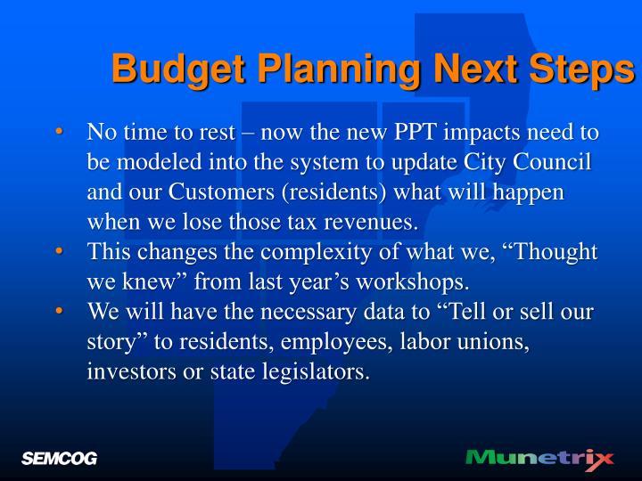 Budget Planning Next Steps