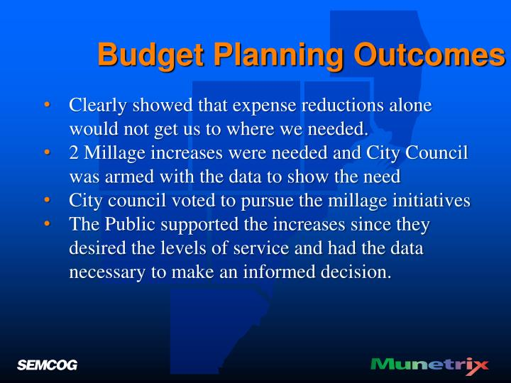 Budget Planning Outcomes