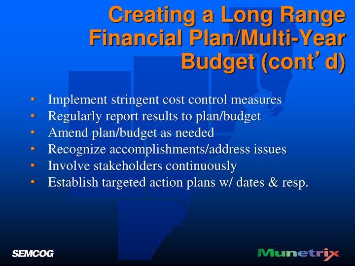 Creating a Long Range Financial Plan