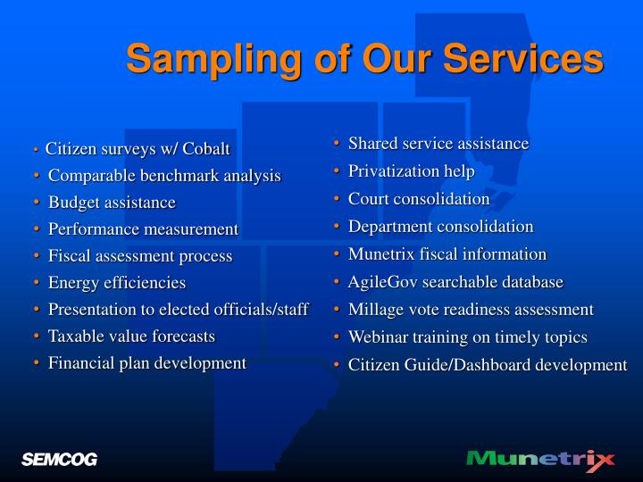 Sampling of Our Services