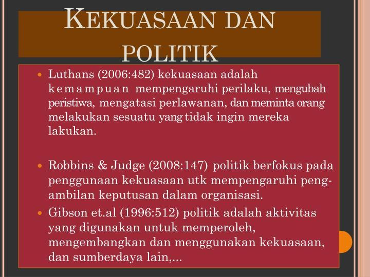 Kekuasaan dan politik